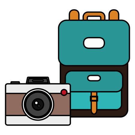 suitcase travel with camera photographic vector illustration design Illusztráció