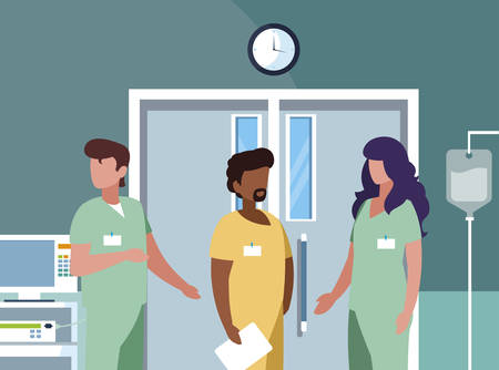 interracial group medicine workers in operating theater vector illustration design Çizim