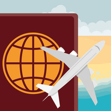 passport international document with airplane vector illustration design