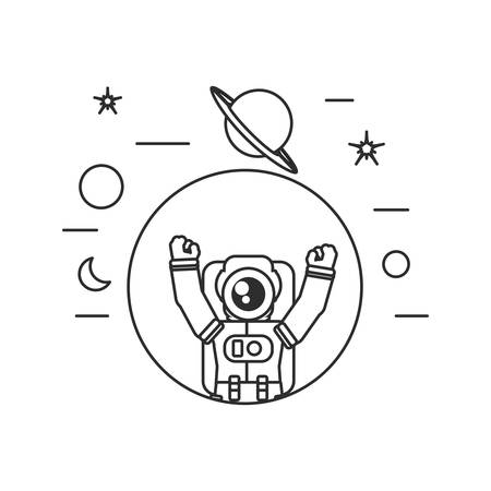 astronaut suit in frame circular with set icons vector illustration design Illusztráció