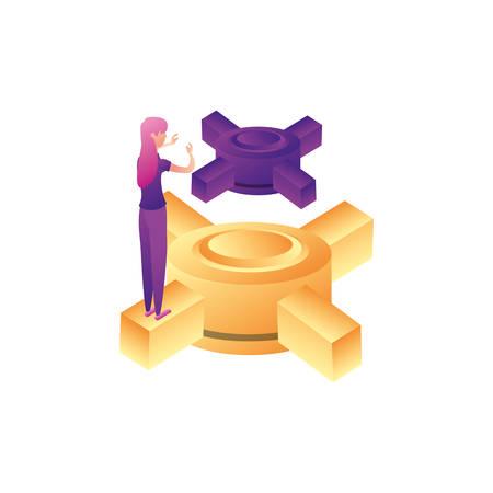 businesswoman worker with data center platform vector illustration design Illustration
