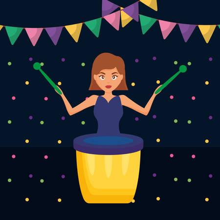 woman playing carnival bongo instrument vector illustration design  イラスト・ベクター素材