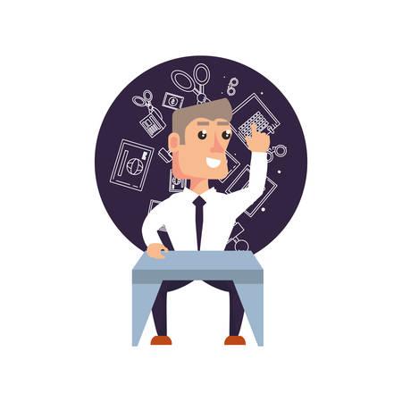businessman elegant with desk and set icons office vector illustration design