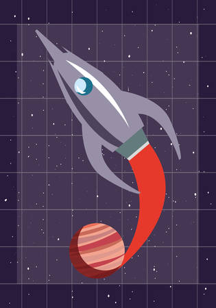 space rocket flying in space with planet vector illustration