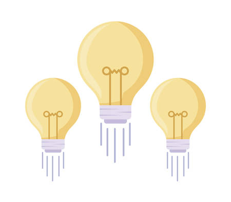 set of light bulbs isolated icon vector illustration design