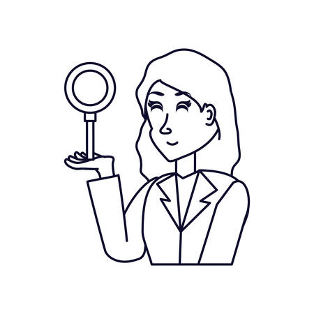 business woman with magnifying glass vector illustration design