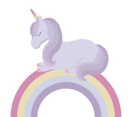 cute unicorn animal with rainbow vector illustration design Çizim
