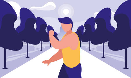 young man practicing outdoor gym vector illustration design