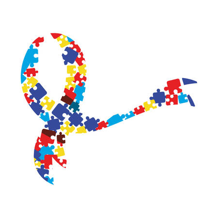 puzzles shaped ribbon autism awareness day vector illustration