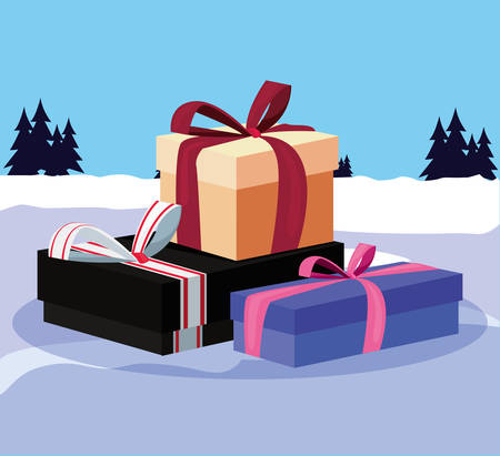 christmas gift boxes in the winter landscape vector illustration