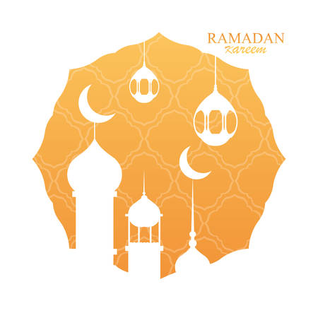 ramadan kareem mosque building in frame vector illustration design