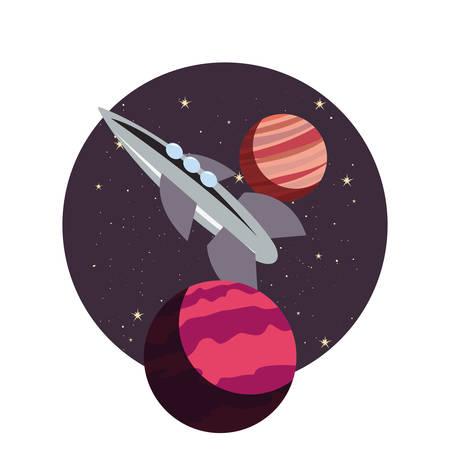 rocket spaceship cosmos planets vector illustration design Çizim