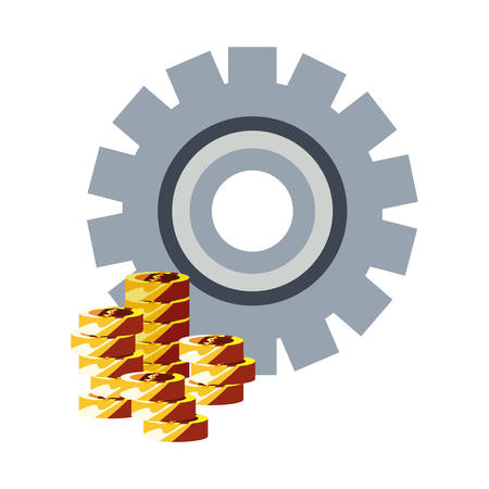money coins stack dollar gear vector illustration