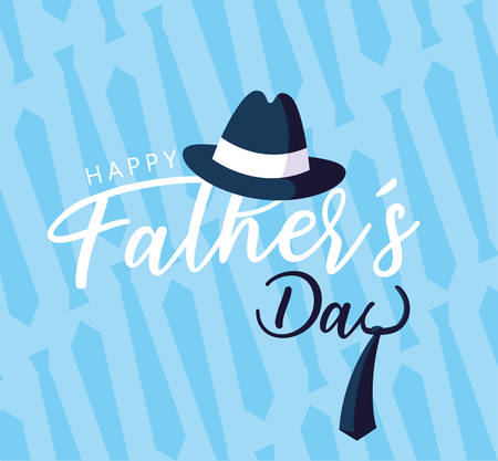 happy father day card with gentleman hat and necktie vector illustration design