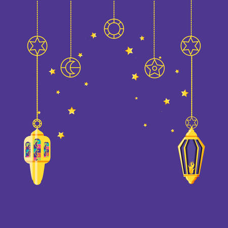 Ramadan Kareem lamps hanging vector illustration design  イラスト・ベクター素材
