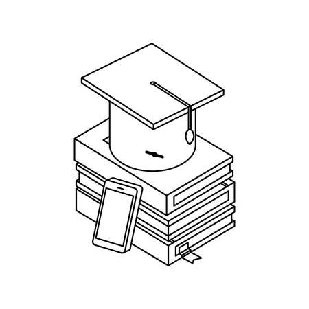 pile text books with smartphone vector illustration design Banco de Imagens - 132122903