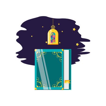 Ramadan Kareem lamp with koran book vector illustration design Stok Fotoğraf - 132122910