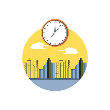 cityscape scene day with clock time vector illustration design