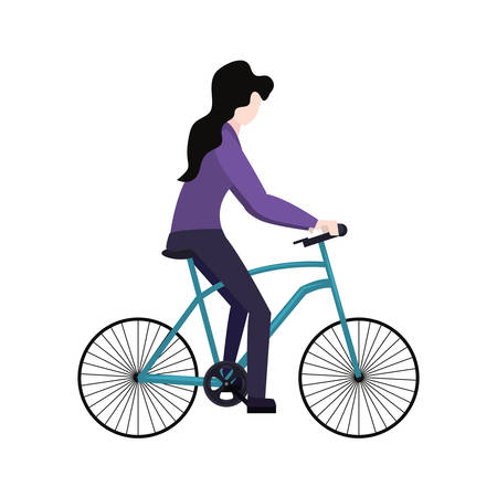 woman riding bicycle on white background vector illustration