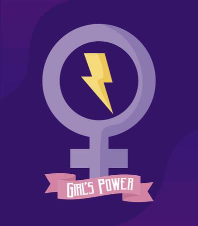 girl power card with gender female symbol vector illustration design