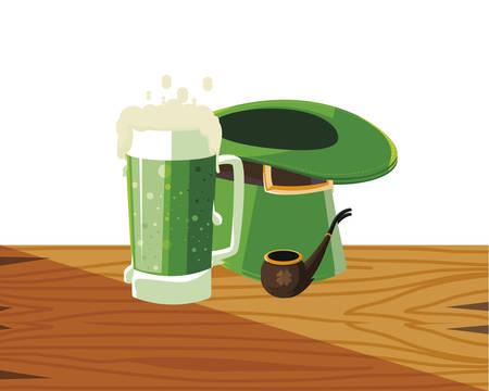 lemprechaun tophat with wooden pipe vector illustration design Ilustração