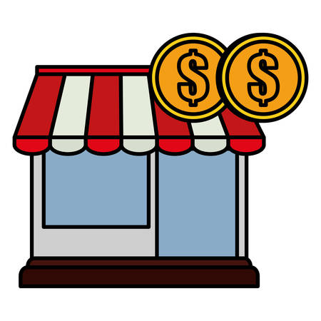 store facade building with coins money vector illustration design Banco de Imagens - 132122927