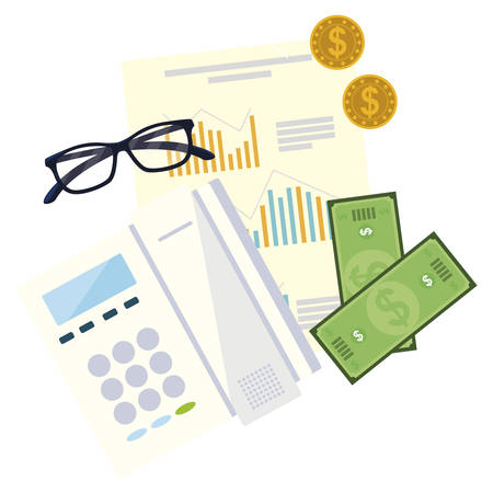 office supplies and financial documents vector illustration design Çizim