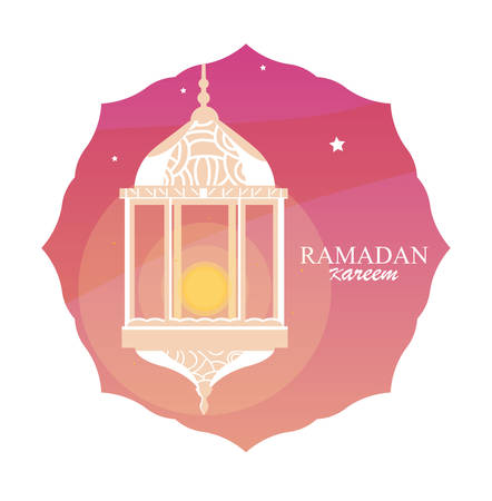 ramadan kareem lamp hanging in frame vector illustration design Imagens - 132123048