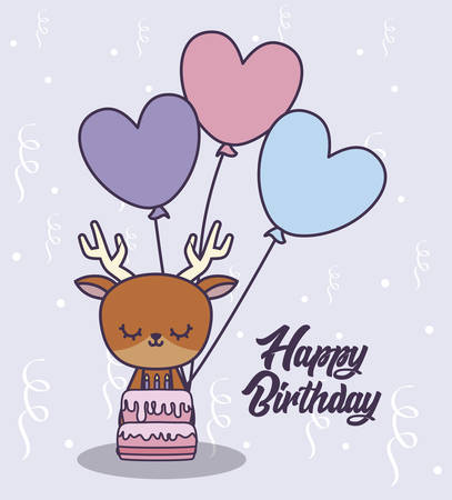 happy birthday card with cute reindeer and balloons helium vector illustration design