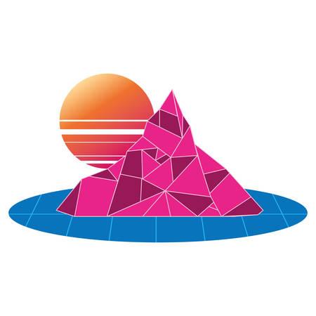 geometric abstract landscape mountain sun vector illustration