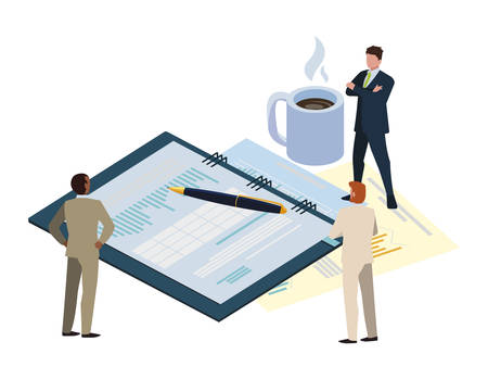 mini business people with office notepad and set items vector illustration design Illustration