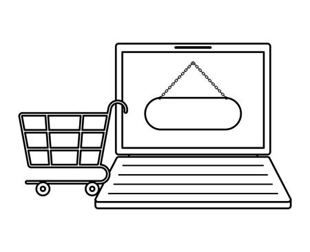 laptop with shopping cart isolated icon vector illustration design Banco de Imagens - 132123070