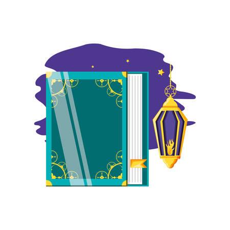 Ramadan Kareem lamp with koran book vector illustration design