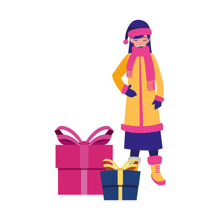 woman with winter clothes and christmas gift vector illustration