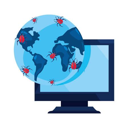 computer world virus cybersecurity data protection vector illustration