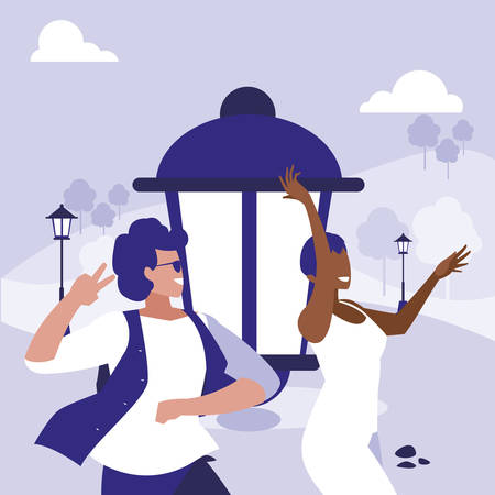 young interracial couple dancing in the park vector illustration design