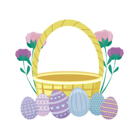 basket wicker with eggs of easter and flowers vector illustration design Ilustração
