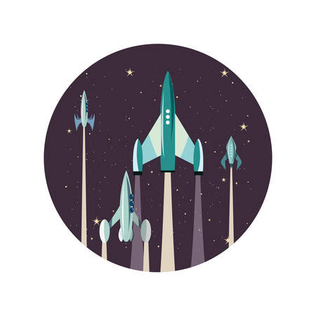 launching rocket spaceships mission vector illustration design Ilustração