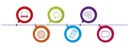 circles and colors tech infographics vector illustration design Çizim