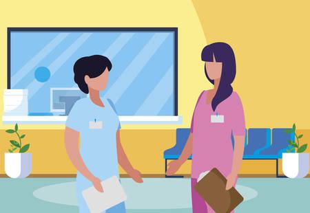 female medicine workers in hospital reception vector illustration design