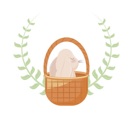 cute rabbit in basket wicker with crown of leaves vector illustration design