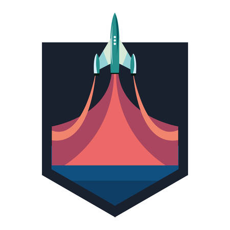 rocket launch galaxy emblem vector illustration design