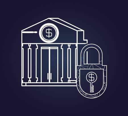 bank building fintech icon vector illustration design