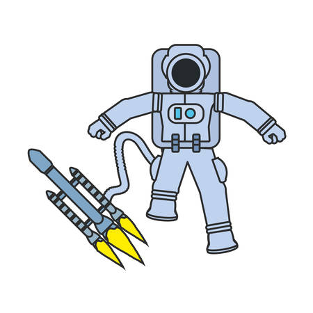astronaut suit with satellite and hose isolated icon vector illustration design