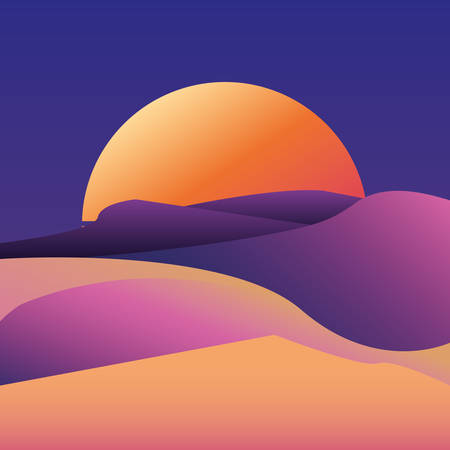 sunset deset landscape gradient background vector illustration Иллюстрация