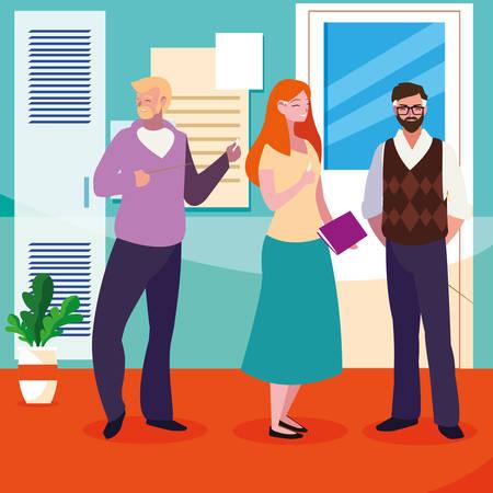 teachers group in the school corridor vector illustration design