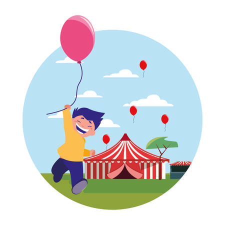 smiling boy holding balloon park amusement vector illustration Ilustração