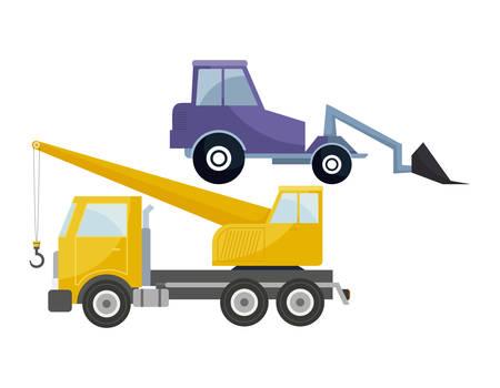 under construction crane truck with forklift vector illustration design Çizim