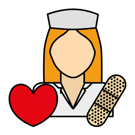 nurse professional with heart and cure band vector illustration design