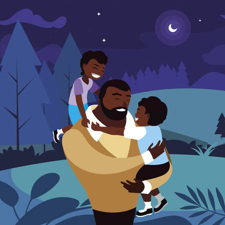 afro father with sons characters in the field at night vector illustration design